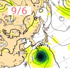 ヨーロッパ中期予報センターの9月6日の台風10号進路画像