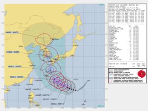 アメリカJTWCの台風10号進路予想図の画像