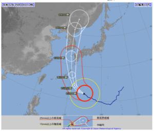 2020台風10号(ハイシェン)の気象庁進路予想図画像