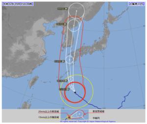 2020台風10号(ハイシェン)5日朝の気象庁進路予想図画像