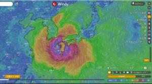台風10号勢力図Windy画像