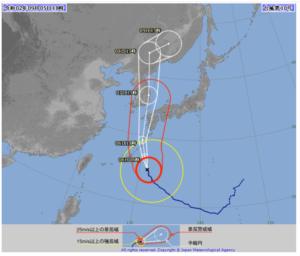 2020台風10号(ハイシェン)5日18時の気象庁進路予想図画像