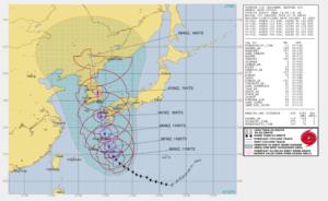 アメリカJTWC5日の台風10号進路予想図の画像