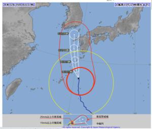 2020台風10号(ハイシェン)6日7時の気象庁進路予想図画像