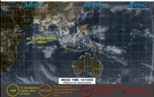 アメリカJTWCの14日22時の台風画像