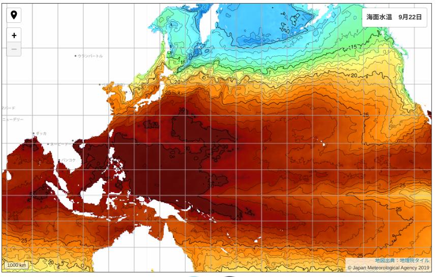 気象庁発表の22日の海面水温画像