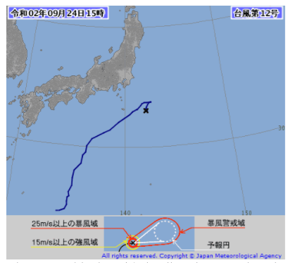 気象庁発表の台風12号の温帯低気圧変化位置画像