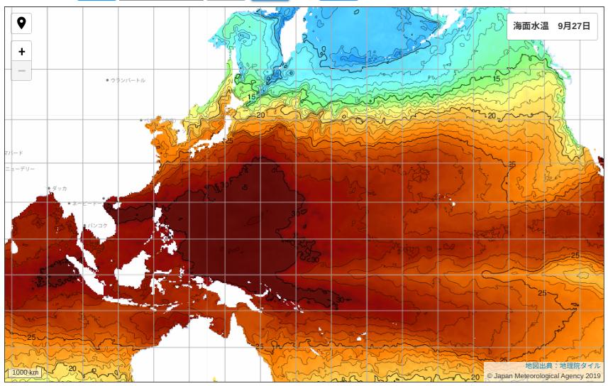 気象庁発表の海面水温画像