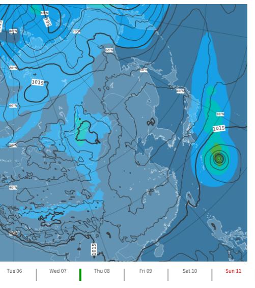 ヨーロッパ中期予報センターの10月8日の台風14号進路画像