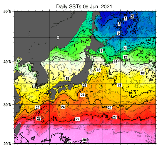 2021年6月8日野海面水温画像