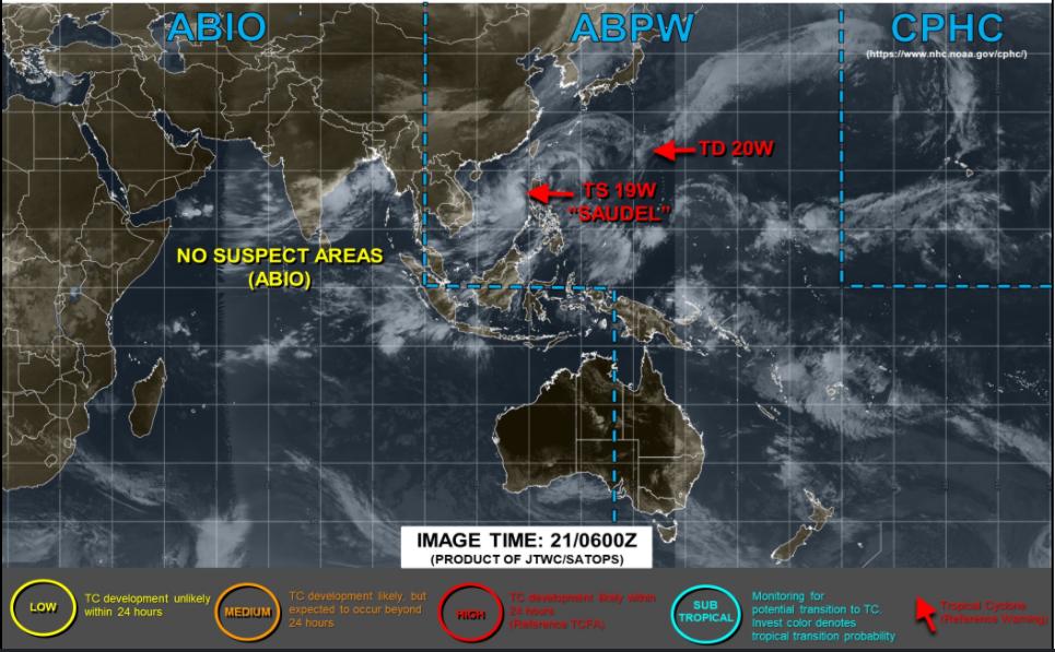 アメリカJTWCの21日台風画像
