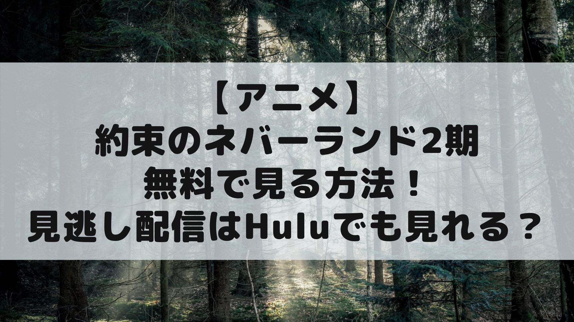 【アニメ】約束のネバーランド2期を無料で見る方法!見逃し配信はHuluでも見れる?タイトル画像