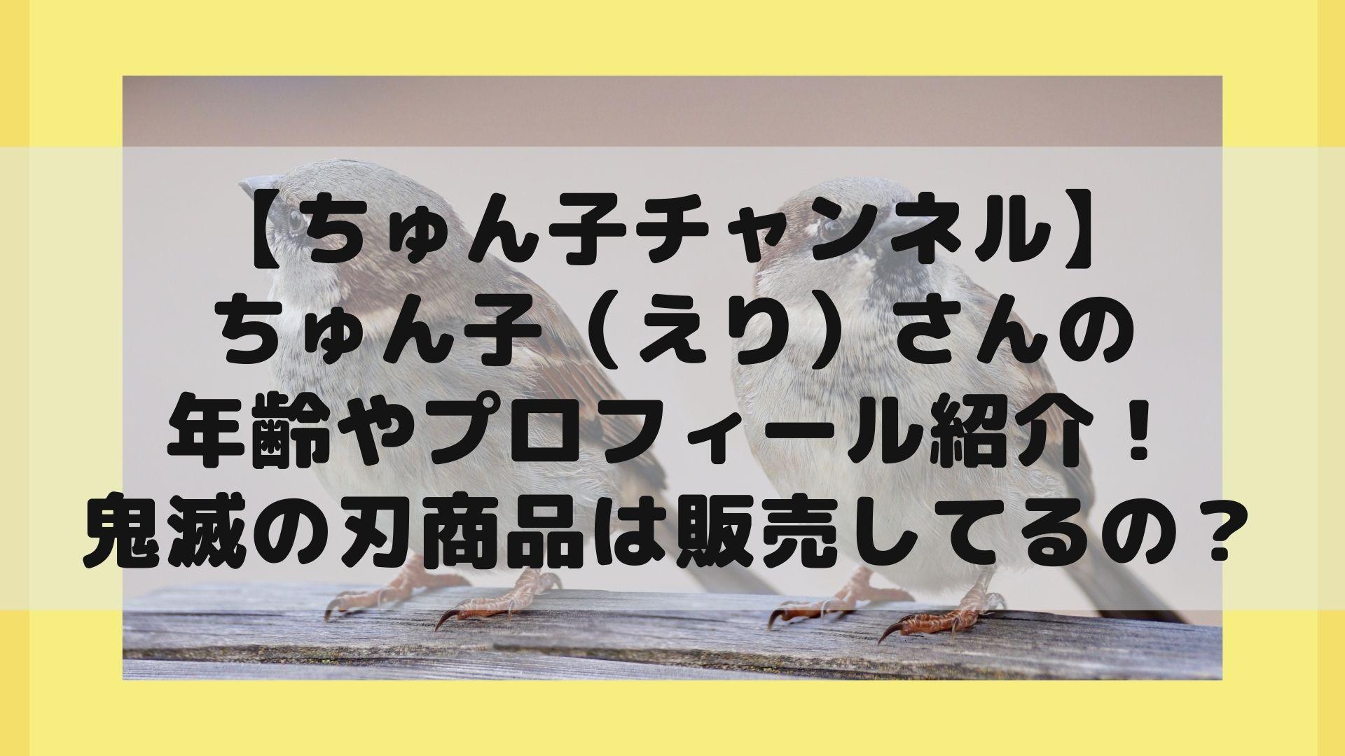 【ちゅん子チャンネル】ちゅん子(えり)の年齢やプロフィール紹介!鬼滅の刃商品は販売してるの?タイトル画像
