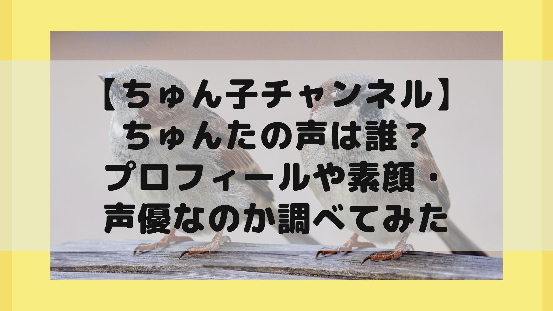 【ちゅん子チャンネル】ちゅんたの声は誰?プロフィールや素顔・声優なのか調べてみたタイトル画像